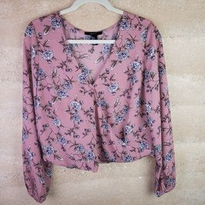 Forever 21 Pink Blouse Sz L Wrap Front